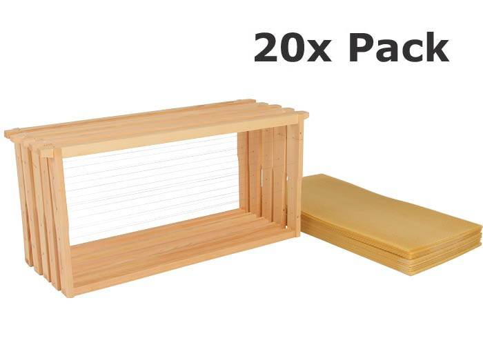 Assembled Frame and Bees Wax Foundation 20 Pack Kit